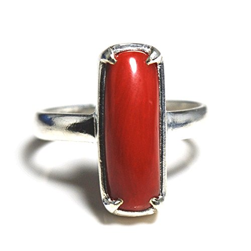 Jewelryonclick 3 Carat Red Coral Silver Ring for Women Prong Setting Chakra Healing Jewelry in Size 5-13