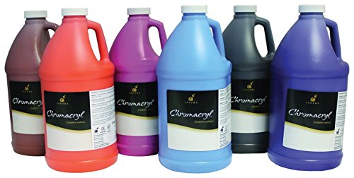 Chromacryl Premium Acrylic Paints, 1/2 Gallons, Assorted Secondary Colors, Set of 6 by Chroma