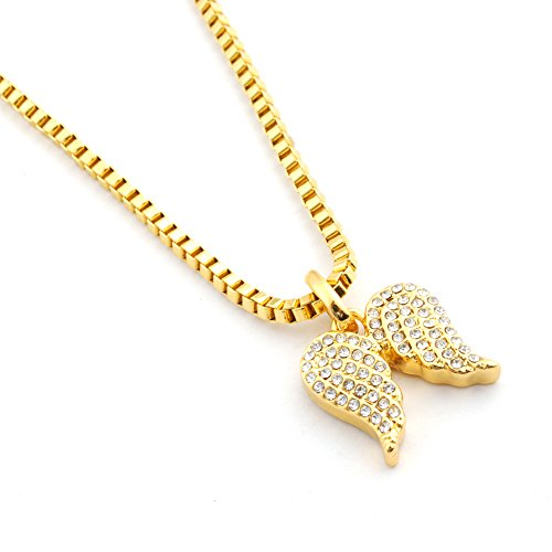 (Diamond Mother and Baby Little Faith Angel Wings Prayer Pendant Necklace in 14k Gold)