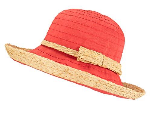 Raffia Crusher Hat - Woven Straw Ribbon Crusher Sun Hat, Ladies Packable Short Brim Bucket Cap w/Bow (Coral)