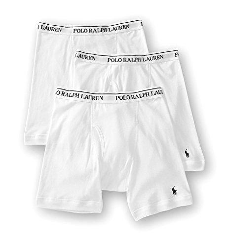 Polo Ralph Lauren Men's 3-Pack Long Leg Boxer Brief White (White Button Fly Boxer)
