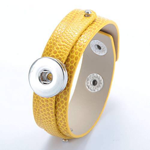 2017 1pcs Punk Leather Bangle Bracelets for Noosa Snaps Charm Button deep yellow