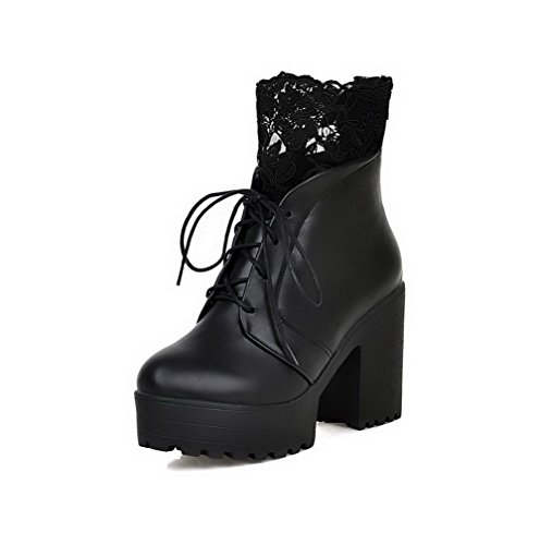 AgooLar Women's Blend Materials Low-Top High-Heels Round Closed Toe Boots Black-lace 5EX6bFGE