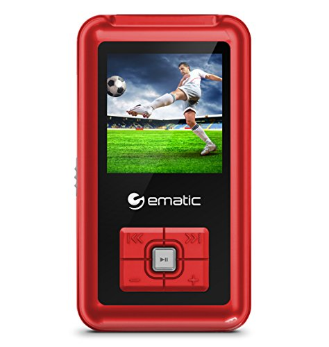 Ematic 8GB MP3 Video Player with FM Tuner/Recorder and 1.5-inch Color Screen, Red