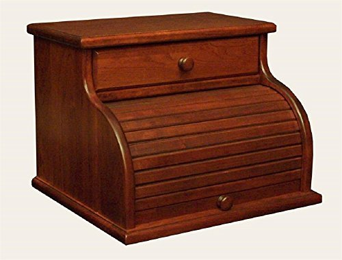 Amish Hardwood Roll Top Bread Box with Drawer (Cherry) (Roll Tambour Top)