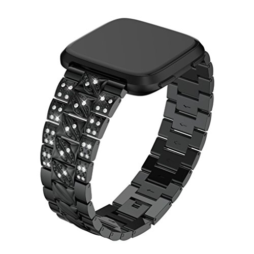 Price comparison product image AutumnFall For Fitbit Versa Band, 2018 New Style Fashion 22mm Width Replacement Crystal Metal Watch Band Wrist Strap For Fitbit Versa (Black)
