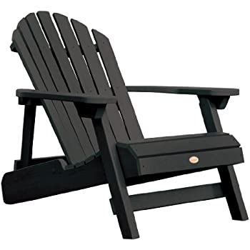 Highwood Hamilton Folding And Reclining Adirondack Chair, Adult Size, Black