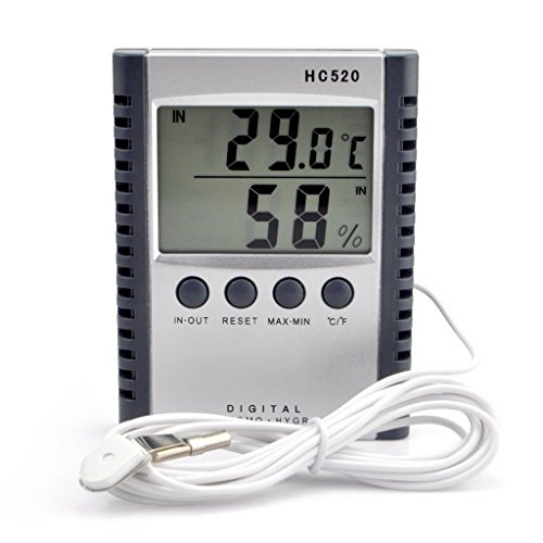 Clock + LCD Digital Hygrometer Humidity Thermometer Temperature Meter In/Outdoor - 2