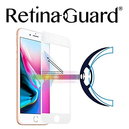 RetinaGuard Anti Blue Light Tempered Glass Screen Protector for iPhone 8 Plus (White Border), SGS and Intertek Tested, Blocks Excessive Harmful Blue Light, Reduce Eye Fatigue and Eye Strain