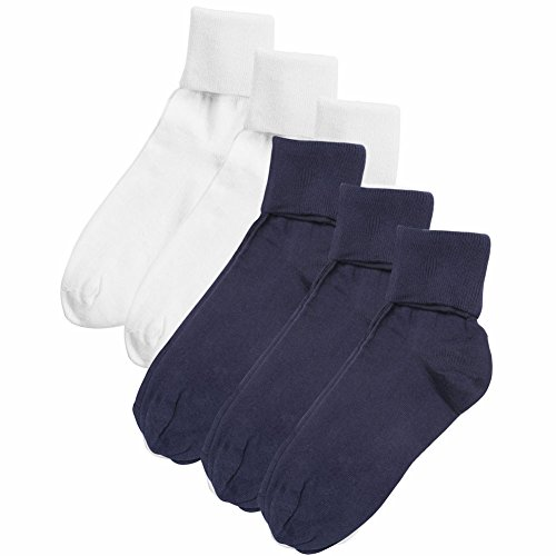 Women's Buster Brown 100% Cotton Fold Over Socks - 6 Pack 3 White 3 Navy L