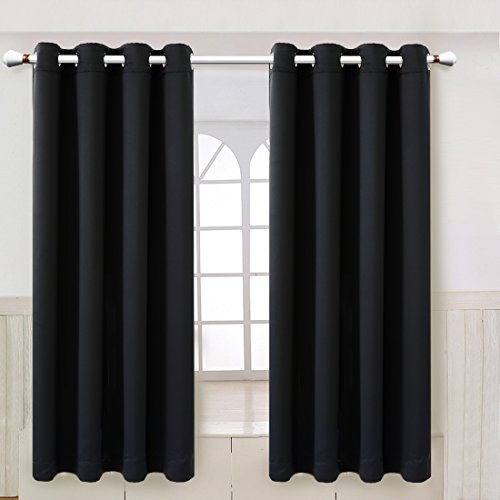 Maevis Blackout Curtains 2 Panels for Bedroom Window Treatment Thermal Insulated Solid Grommet Blackout Drapes for Living Room (Deep Black, 52-Inch-by-63-Inch)