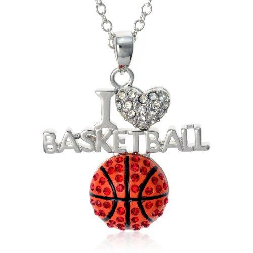 PammyJ Orange Crystal I Love Basketball Pendant Necklace, 18'' by PammyJ