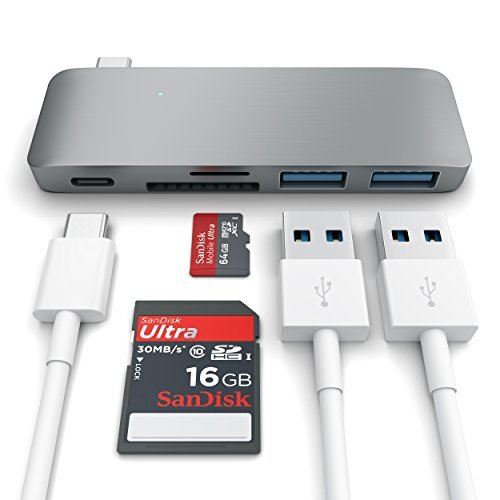 Satechi Type-C USB 3.0 3 in 1 Combo Hub for MacBook 12-Inch (with USB -C Charging Port) (Space Gray) (Through Any Usb)