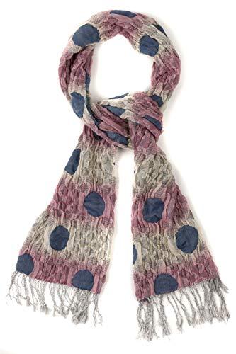 (Ulla Popken Women's Plus Size Crinkle Texture Polka Dot Stripe Scarf Multi 1Size 717380 90)