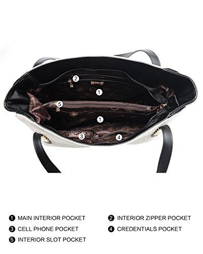 Bags Large Totes Fashion Handbags Ladies for White BOYATU Leather Shoulder Women zBq6q