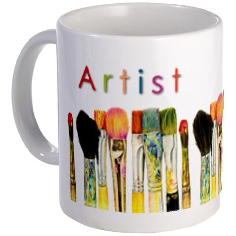 ARTIST - an Original Art by Tracey Print of Paint Brushes on an 11oz Ceramic Coffee Cup Mug Artwork by Tracey (Aceo Original Art)