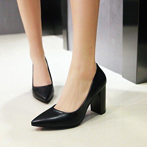 Pied De Charme Femmes Bout Pointu Chunky Chaussures À Talons Hauts Chaussures Noir