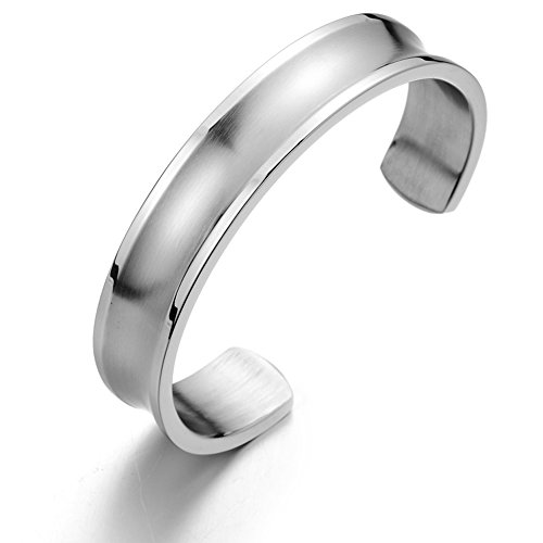 Womens Bracelet Stainless Grooved Polished