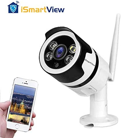 iSmartView 1080P 2.0MP Outdoor WiFi Security Camera, Clarity Color Night Vision. Surveillance Wireless CCTV. Motion Detection Two-Way Audio IP66 Weatherproof, Support Max 128GB Loop Recording.