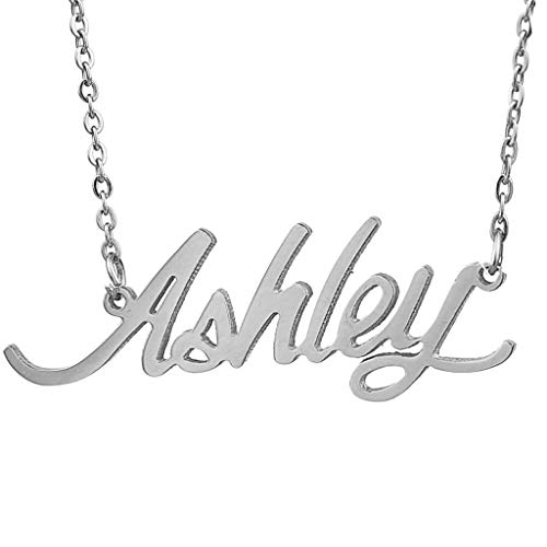 Ashley Silver Bracelets - AIJIAO Steel Script Nameplate Name Necklace Personalized Choker Women Gift/Ashley Silver