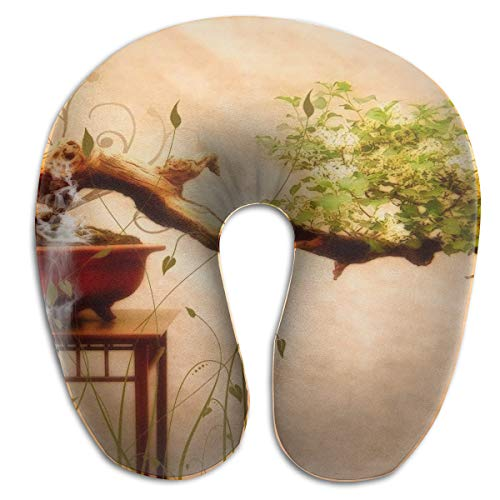 Laurel Neck Pillow Tree Painting Travel U-Shaped Pillow Soft Memory Neck Support for Train Airplane Sleeping