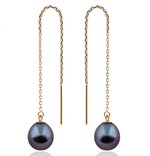 14K Yellow Gold Threader Drop Earrings with 7.5-8mm AA Quality Black Freshwater Cultured Pearls