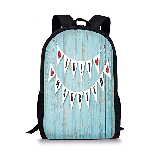 - School Bags Wedding Decorations,Just Married Letters on Triangular Flags Hanged on Blue Wooden Door,Blue Black Red for Boys&Girls Mens Sport Daypack
