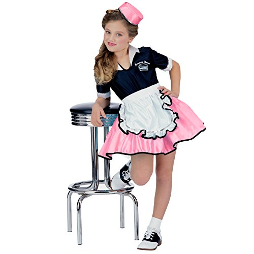 Pink Child 50s Car Hop Girl Costume (Large 10-12) ()