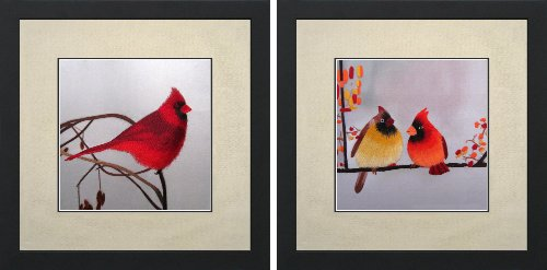 (King Silk Art 100% Handmade Embroidery Mixed Group Cardinal Chinese Embroidery Print Framed Wildlife Bird Painting Asian Wall Art Décor Artwork Hanging Picture 31080WF+31071WF)
