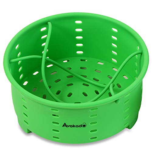 Avokado Steamer Basket for Stove Top Pot or Pressure Cooker - Perfect Egg, Broccoli, Veggie Silicone Steamer and Strainer - BPA Free, FDA Food Grade - 7.75in Wide