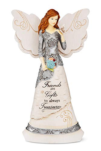 Elements Friend Angel Figurine by Pavilion, 8-Inch, Holding Butterfly, Inscription Friends are Gifts to Always Treasure