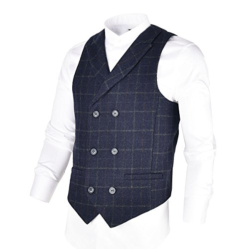 BOTVELA Mens 100% Wool Suit Vest Herringbone Tweed Vintage Check Waistcoat With Lapel,Double Breasted (Navy, - Herringbone Tweed Coat
