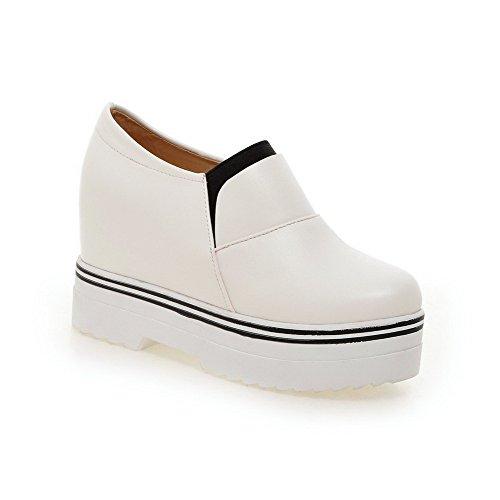 Amoonyfashion Femmes Bout Fermé Bout Fermé Talons Hauts Solide Pull-chaussures Blanc