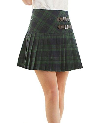 Green Girls Skirts Plaid (Sematomala Women Plaid Leather Decoration Red Green Checkered Grid A-line Mini Kilt Skirt(GR,S))