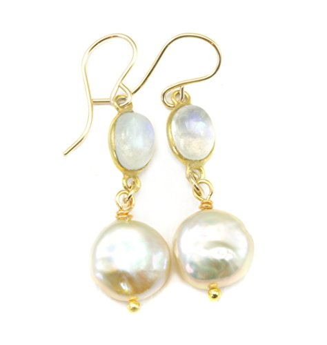 14k Gold Filled Freshwater Cultured Pearl Earrings White Button Pearls Moonstone Goldtone ()