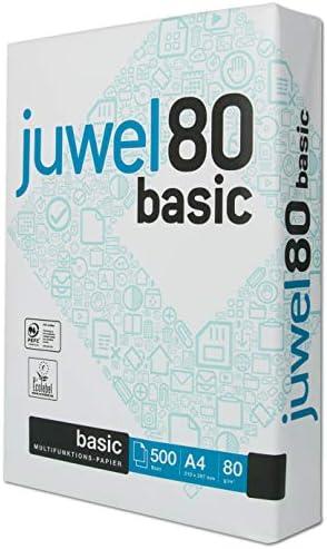 Juwel 80 basic Druckerpapier Din A4, 80g, weiß, 500 Blatt, ideale Laufeigenschaften auf allen Drucker und Kopierern, holzfrei, A4 Paper, geriest, 1 Pack, Office - geeignet, klares weiß