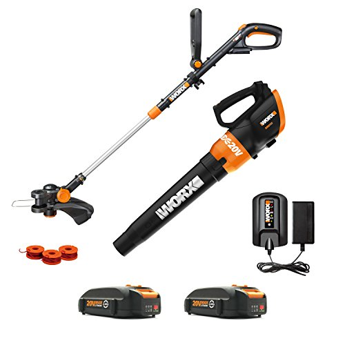 Worx WG954 20V Revolution Grass Trimmer/Edger and Turbine Blower Combo Kit with two 20V (2.0Ah) Batteries, Charger ()