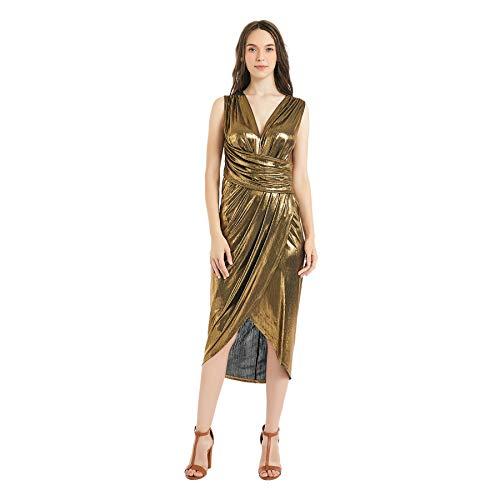 Women's Sequin Glitter V Neck Sleeveless Empire Waist Long Evening Dress Disco Theme Party Dress (Large, Gold)