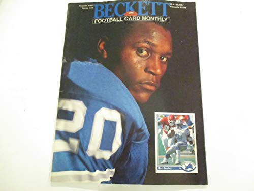 AUGUST 1991 ISSUE #17 BECKETT FOOTBALL CARD MONTHLY FEATURING BARRY SANDERS OF DETROIT LIONS (BACK COVER) FEATURING DERRICK THOMAS OF KANSAS CITY CHIEFS MAGAZINE Beckett Football Magazine Cover