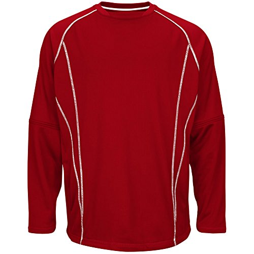 Majestic Men's Fleece Practice Pullover Scarlet/White XL