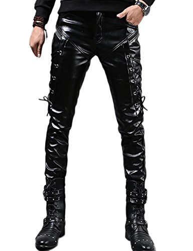 Idopy Men`s Rock Steampunk Lace Up PU Leather Pants Slim Fit