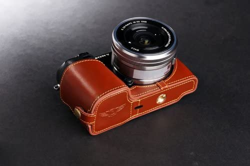 Handmade Genuine real Leather Half Camera Case bag cover for Sony NEX7 NEX-7 Brown Bottom opening Version