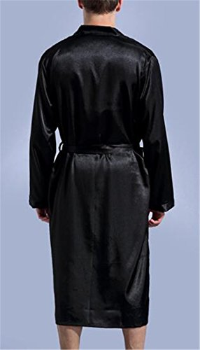 Cromoncent Men Relaxed-Fit Solid Kimono Homewear Long Sleeve Long Bathrobe Black X-Large by Cromoncent (Image #1)
