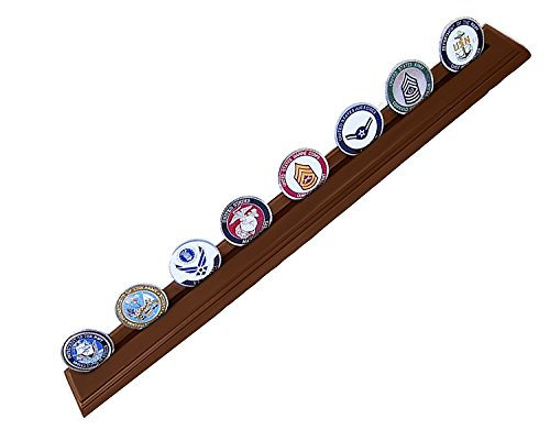 DECOMIL - Military Collectible Challenge Coin Holder, Large, 1 Rows, Solid Walnut