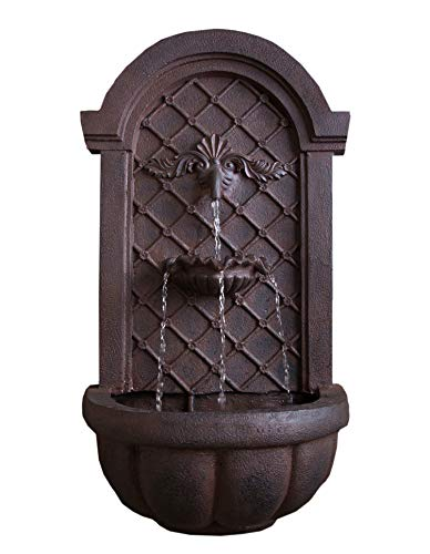 - The Manchester - Outdoor Wall Fountain - Weathered Bronze - Water Feature for Garden, Patio and Landscape Enhancement