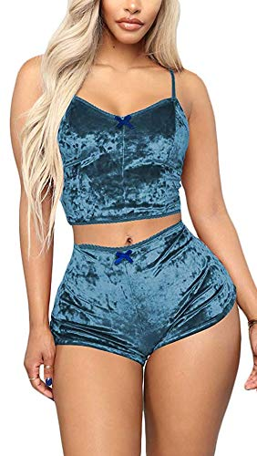 (TOP-MAX Sexy Velvet 2 Pieces Romper Outfit - Spaghetti Strap Crop Top Camisole and Shorts Pajama Active Bottom Set)