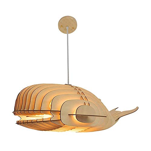 HELIn Creative DIY Puzzle Whale Pendant Light Shade Wooden Hanging Ceiling Lamp Fixture with Cord E26 Socket Over Kitchen Island Dinning Room Table Aquarium Decor
