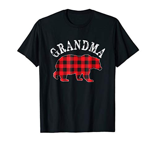 Red Plaid Grandma Bear Matching Buffalo Pajama Shirt