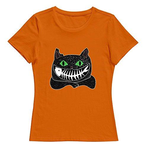 KST Women Black Cat Eat Fish 100% Cotton 100% Cotton Sport T Shirts Orange US Size -