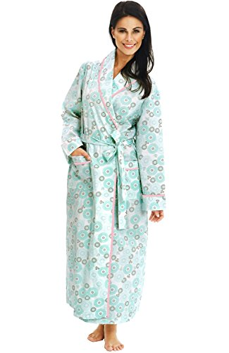 Alexander Del Rossa Women's Lightweight Cotton Kimono Robe, Summer Bathrobe, XL Green Circles on Cream (A0515P43XL)